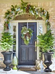 Christmas Office Door Decorations Using Ribbons Bows And Bells 15 Festive U0026 Fun Christmas Porch Ideas A Blissful Nest
