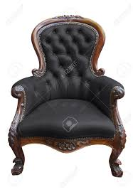 Leather Armchair Vintage Black Leather Armchair On White With Clipping Path Stock