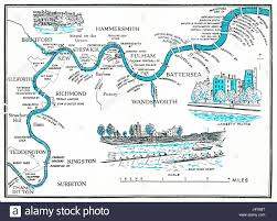 Map Of The Hamptons Rowing Map Of The Thames 1955 Illustrated Plan Of The River