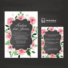 chalkboard and rose frame invitation and rsvp wedding