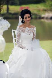 pretty long sleeves wedding dress with bateau neck lace tulle a