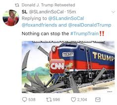 trump retweets then deletes cartoon of a train hitting person