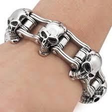 skull link bracelet images Mens motorcycle chain stainless steel biker skull bracelet bike jpg