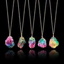 quartz rock necklace images 2018 hot sale women fashion rainbow stone natural crystal rock jpg