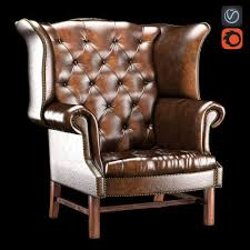 Chesterfield Wing Armchair Chesterfield High Back Wing Chair 3d Model Cgtrader