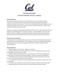 jobs assistant athletic director facilities uc berkeley