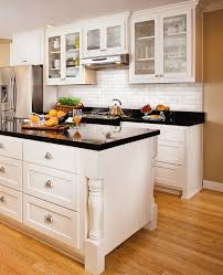 Backsplash Ideas For Kitchens With Granite Countertops Subway Tile Back Splash White Cabinets Nickel Hardware Black