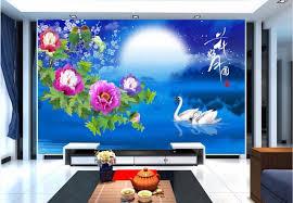 d oration chambre peinture personnalisé photo 3d chambre papier peint la lune fleurs cygne