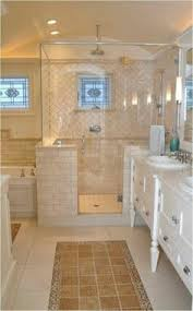 Bathroom Moroccan Porcelain Cast Iron Bathtub Sinks Shower Bench Calming Master Bathroom With Shiplap And Tile Walls A Window Seat