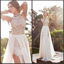 2016 vintage prom dresses high neck beaded crystals lace