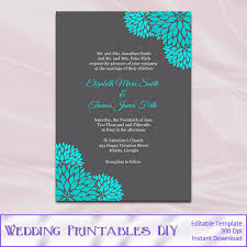 teal and gray wedding invitations template diy printable floral