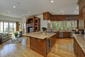 elegant wooden kitchen cabinet also amazing open floor plan