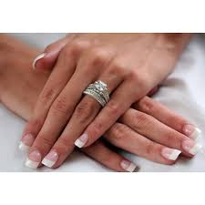 ring sets s princess shape platinum finish wedding ring set