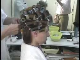 forced to wear hair rollers brunette at the stylist hair wet set rollers and makeover youtube