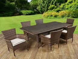 6 rattan garden chairs and rectangular table set in chocolate and cream