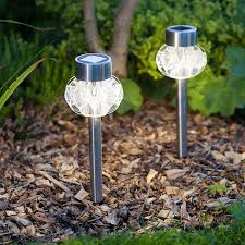 lawn stakes for lights 2 warm white led stainless steel solar stake lights lights4fun co uk