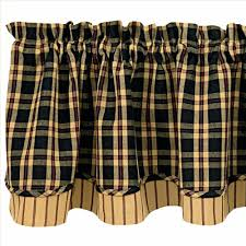 Country Plaid Curtains Country Layered Valance Curtains Cambridge Plaid 72