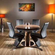 quatropi walnut dining set round oval table 4 black chairs 1 05