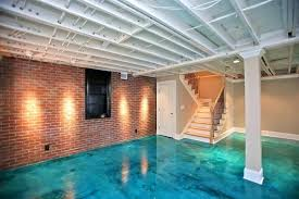 Inexpensive Basement Flooring Ideas Diy Finished Basement Notice How Painting Ceiling Beams And