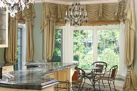 Drapes For Bay Window Pictures Interior Cream Bay Window Treatments Kitchen With Grey Marble