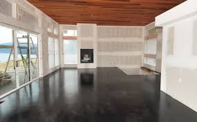 modern home design kelowna a modern black stained concrete floor created by mode concrete in