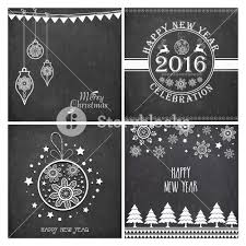 set of creative greeting cards with stylish ornaments on
