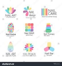 vector logotype design nail salon studio stock vector 370296041