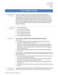 sample resume sample civil foreman sample resume and templates civil foreman resume