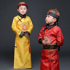 gold hanfu dress ancient chinese traditional costume men for kids
