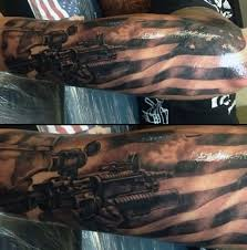 coolest military medal and army sniper tattoo on forearm