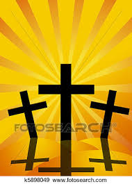 stock illustration of friday easter day crosses sun rays