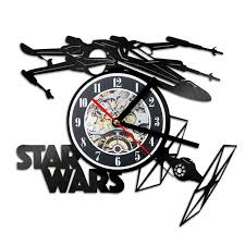 theme clock creative 3d led record clock wars theme airplane model hollow