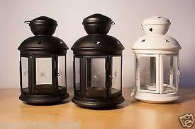 Ikea Rotera Lantern Lot Set 3 Pc Black White Stars Tea Light