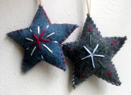 star christmas ornaments set of two felt ornaments handmade