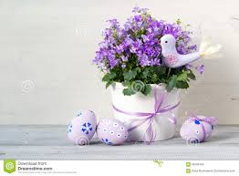 beautiful easter composition in pastel colors with campanula