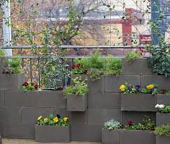 garden wall plants cement block vertical garden fiskars