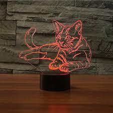 usb cat night light 3d creative cat night light l 7 color change led touch usb table