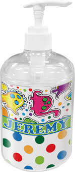 personalized soap dinosaur print dots soap lotion dispenser personalized