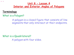 What Is Interior And Exterior Angles Warm Up Determine The Measure Of All The Missing Angles And State