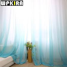 Sheer Blue Curtains 1pcs American Solid Sheer Blue Voile Curtain Modern Gradient Grey