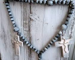 Homemade Wall Decor Rosary Beads Rosary Chain Wooden Rosary Wall Art Rosary Rosary