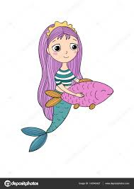 cute cartoon mermaid and fish siren sea theme isolated objects