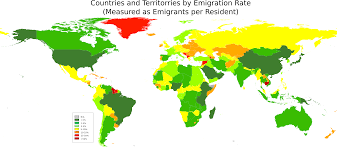 Map Of Countries Map Of Countries And Territories By Emigration Rate 10000x4440