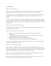 cover letter objective for resume for retail good objective for