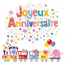 joyeux anniversaire happy birthday in french greeting card stock