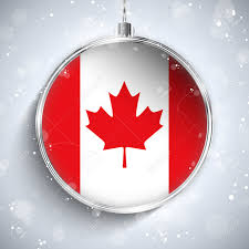 vector merry christmas silver ball flag canada royalty free