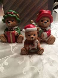 home interiors figurines vintage set 3 santa bears homco 5175 home interiors figurines