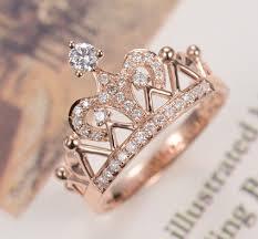 mounting rings images No tarnish solid 14k rose gold crown design ring royal female jpg