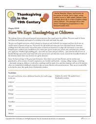 free thanksgiving reading comprehension worksheets worksheets
