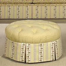 round tufted ottoman with skirt by craftmaster wolf and gardiner